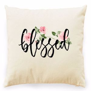 Other - BLESSED FLORAL PRINT BLACK GRAPHIC PILLOW COVER